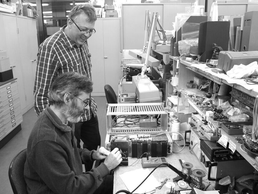 Colleagues in the electronics workshop